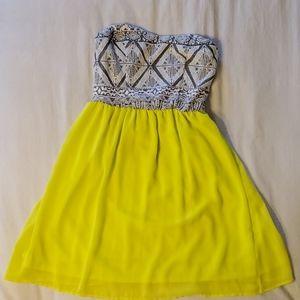 Tribal print neon strapless dress